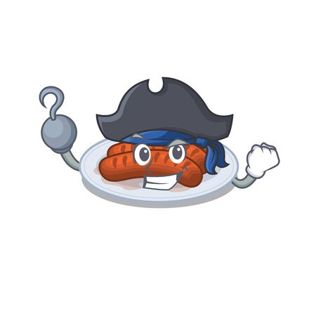 Grilled sausage cartoon design style as a Pirate with hook hand and a hat