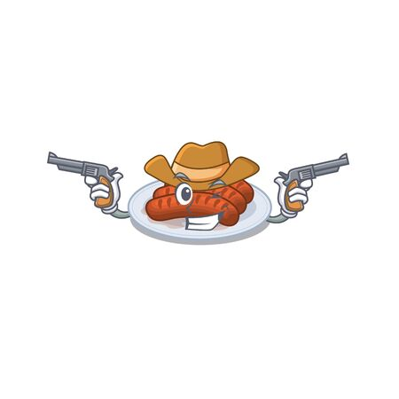 Cute handsome cowboy of grilled sausage cartoon character with guns