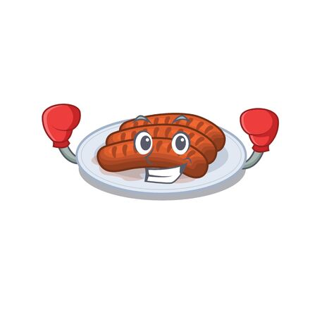 A sporty boxing athlete mascot design of grilled sausage with red boxing gloves Stock Illustratie