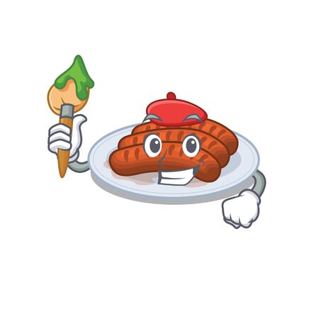A creative grilled sausage artist mascot design style paint with a brush Stock Illustratie
