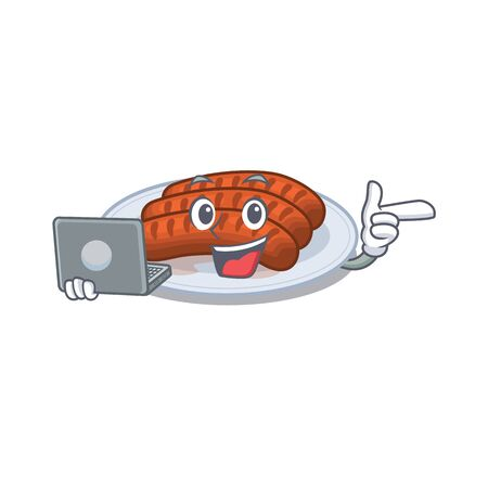 Cartoon character of grilled sausage clever student studying with a laptop