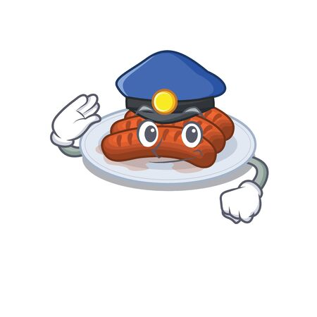Police officer mascot design of grilled sausage wearing a hat