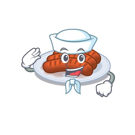 Sailor cartoon character of grilled sausage with white hat Stock Illustratie
