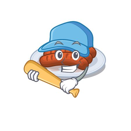 Picture of grilled sausage cartoon character playing baseball