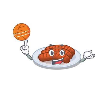 Gorgeous grilled sausage mascot design style with basketball