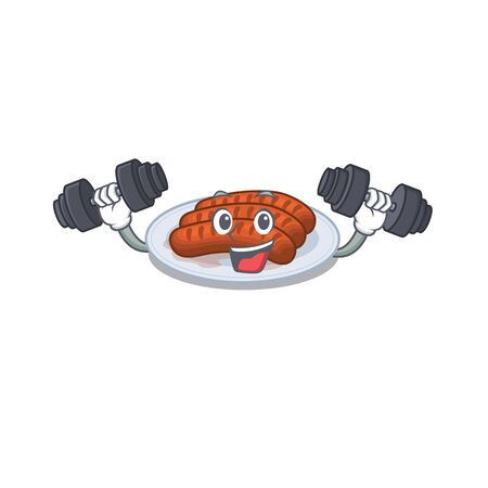 Mascot design of smiling Fitness exercise grilled sausage lift up barbells