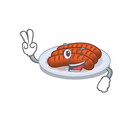 Happy grilled sausage cartoon design concept with two fingers