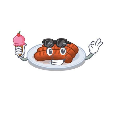 Cartoon design concept of grilled sausage having an ice cream