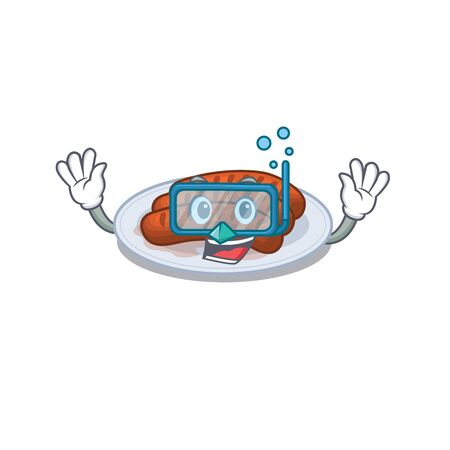 Grilled sausage mascot design concept wearing diving glasses