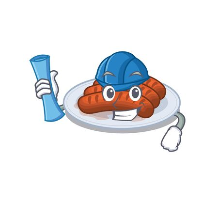 Cartoon character of grilled sausage brainy Architect with blue prints and blue helmet