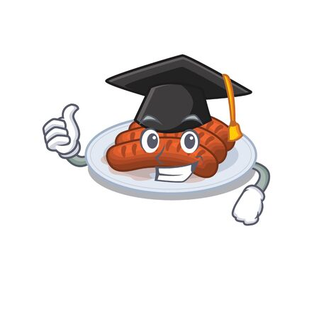 Happy face of grilled sausage in black graduation hat for the ceremony