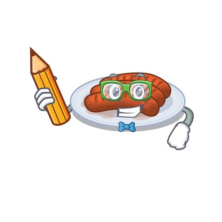 A brainy student grilled sausage cartoon character with pencil and glasses