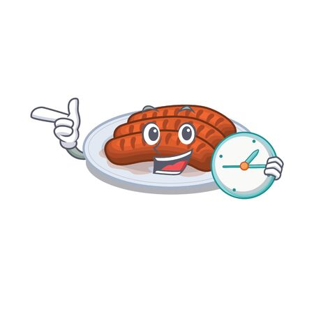 Grilled sausage mascot design concept smiling with clock