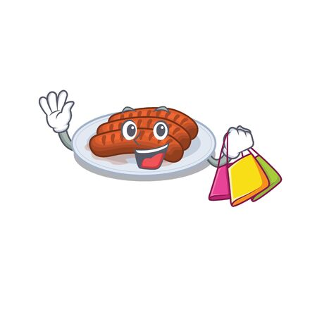 Rich and famous grilled sausage cartoon character holding shopping bags