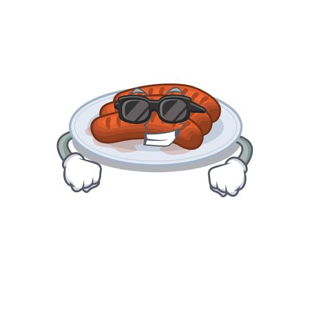 Cool grilled sausage cartoon character wearing expensive black glasses