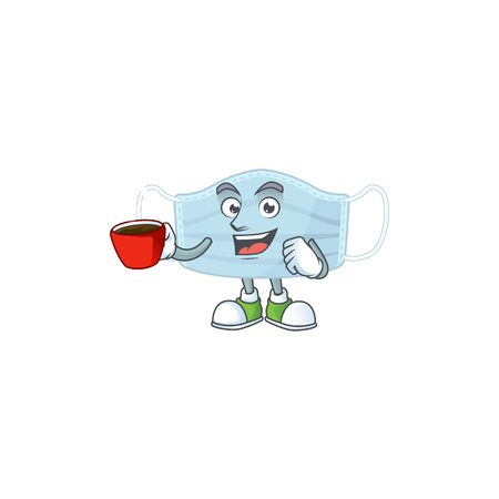An image cartoon character of surgery mask with a cup of coffee. Vector illustration