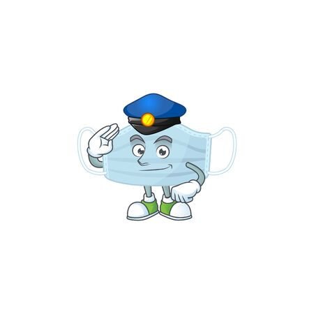 A dedicated Police officer of surgery mask mascot design style. Vector illustration