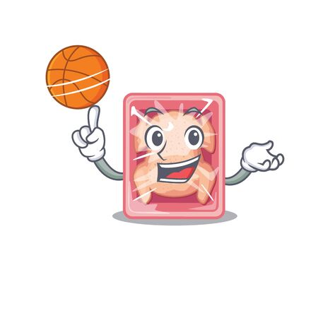 Gorgeous frozen chicken mascot design style with basketball