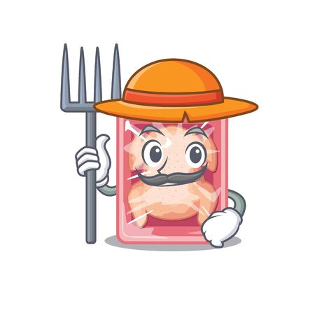 Cartoon character design of frozen chicken as a Farmer with hat and pitchfork
