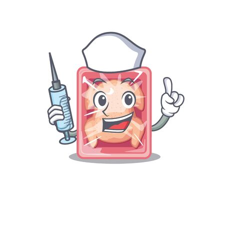 A nice nurse of frozen chicken mascot design concept with a syringe