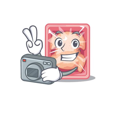 Frozen chicken mascot design as a professional photographer working with camera