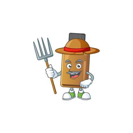 Mascot design style of Farmer syrup cure bottle with hat and pitchfork. Vector illustration