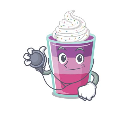 Cocktail jelly in doctor cartoon character with tools. Vector illustration