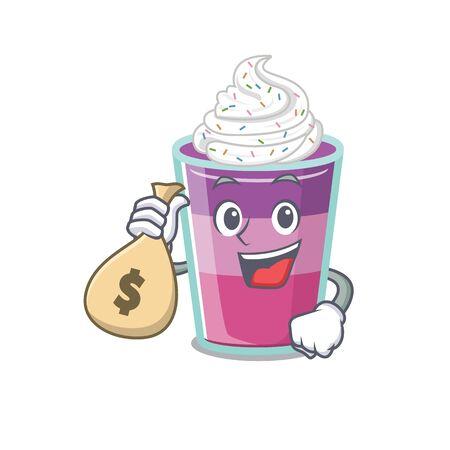 Rich cocktail jelly cartoon design holds money bags. Vector illustration Ilustração