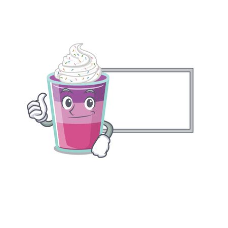 Humorous cocktail jelly cartoon design Thumbs up bring a white board. Vector illustration