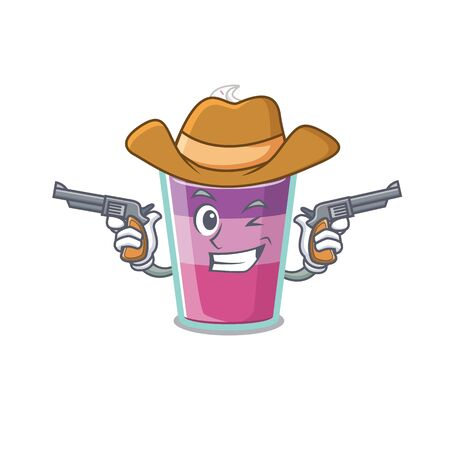 Cute handsome cowboy of cocktail jelly cartoon character with guns. Vector illustration Ilustração