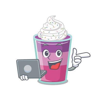Cartoon character of cocktail jelly clever student studying with a laptop. Vector illustration