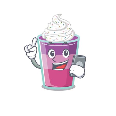 Cocktail jelly cartoon character speaking on phone. Vector illustration
