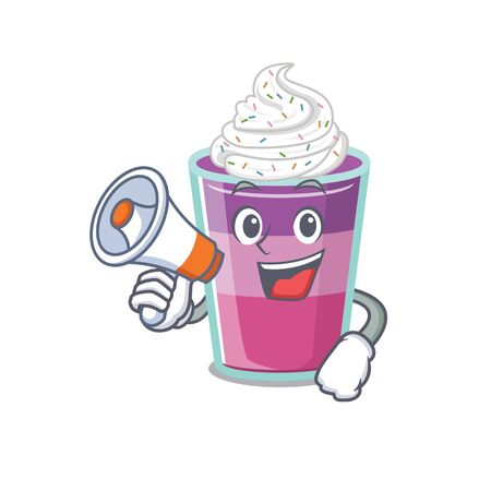 Cartoon character of cocktail jelly having a megaphone. Vector illustration Ilustração