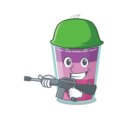 A cartoon picture of cocktail jelly in Army style with machine gun. Vector illustration Ilustração