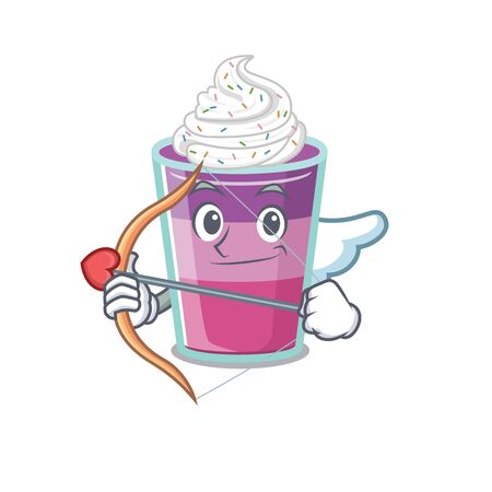 Cocktail jelly in cupid cartoon character with arrow and wings. Vector illustration