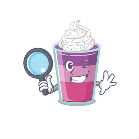 Smart Detective of cocktail jelly mascot design style with tools. Vector illustration