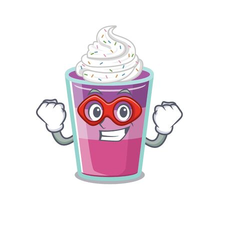 A cartoon character of cocktail jelly performed as a Super hero. Vector illustration