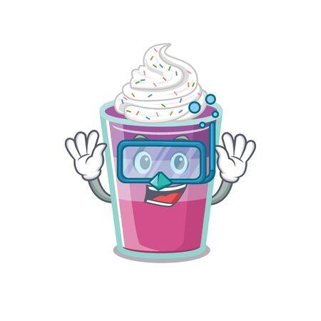 Cocktail jelly mascot design concept wearing diving glasses. Vector illustration Ilustração