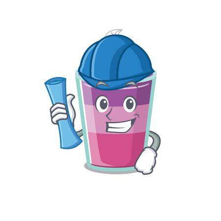 Cartoon character of cocktail jelly brainy Architect with blue prints and blue helmet. Vector illustration Ilustração