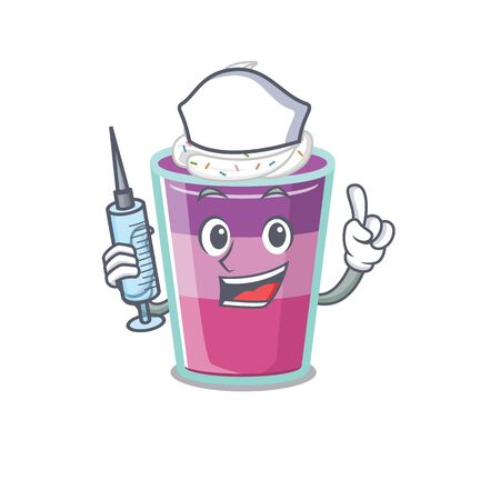A nice nurse of cocktail jelly mascot design concept with a syringe. Vector illustration Ilustração