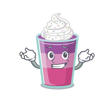 A picture of grinning cocktail jelly cartoon design concept. Vector illustration