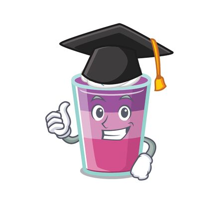 Happy face of cocktail jelly in black graduation hat for the ceremony. Vector illustration