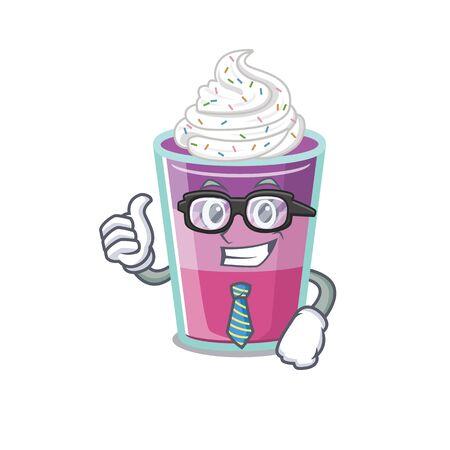 An elegant cocktail jelly Businessman mascot design wearing glasses and tie. Vector illustration Ilustração