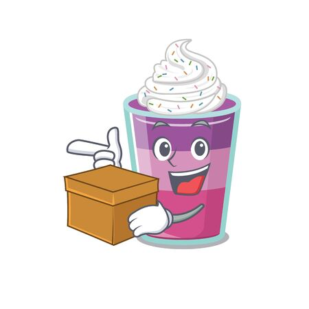 An picture of cocktail jelly cartoon design concept holding a box. Vector illustration
