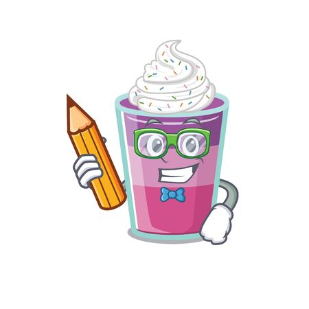 A brainy student cocktail jelly cartoon character with pencil and glasses. Vector illustration Ilustração