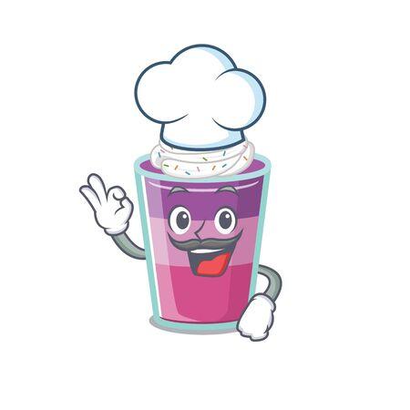 Cocktail jelly chef cartoon design style wearing white hat. Vector illustration Ilustração