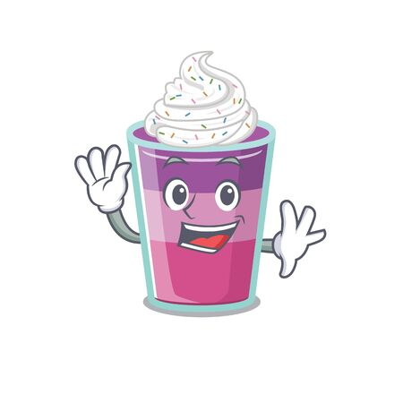 A charismatic cocktail jelly mascot design style smiling and waving hand. Vector illustration Ilustração