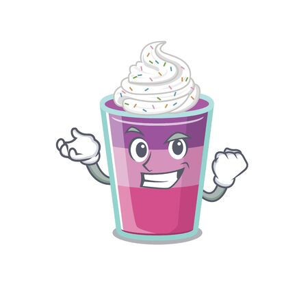 A dazzling cocktail jelly mascot design concept with happy face. Vector illustration Ilustração