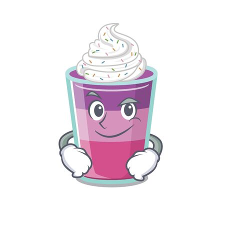 A mascot design of cocktail jelly having confident gesture. Vector illustration