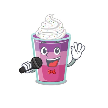 Talented singer of cocktail jelly cartoon character holding a microphone. Vector illustration